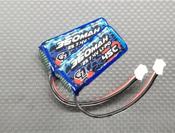 Lipo DUO Pack ( 2x Akku) / 7.4V / 2S / GL Racing / 360mAh / 45C